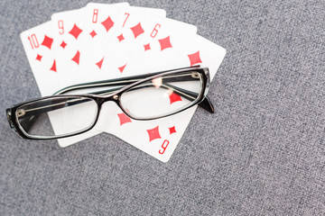 glasses playing cards