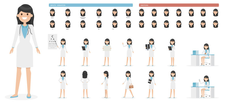 Cute cartoon girl character set isolated on a white background. Collection of emotions, hairstyles, accessories. Mouth and body animation. Simple design. Flat style vector illustration.
