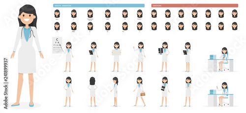 Cute Cartoon Girl Character Set Isolated On A White Background
