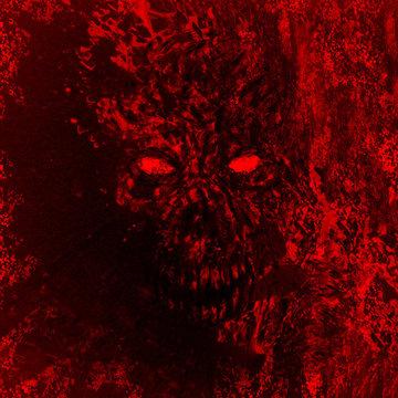 Red angry demon skull illustration.