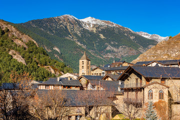 View on the village of Ordino in the Microstate of Andorra, Europe on sunny winter day