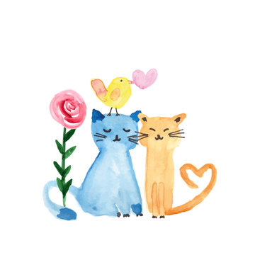 I love you - watercolor illustration