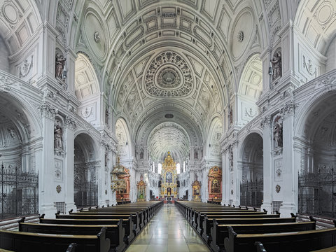 Interior of St. Michael's Church (Michaelskirche) in Munich, Germany. The church was built by William V, Duke of Bavaria in 1583-1597. It is the largest Renaissance church north of the Alps.