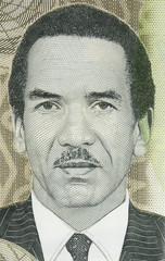 Ian Khama portrait on Botswana 10 pula (2018) banknote macro. President of Botswana.