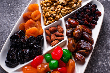 Mix of dried fruits and nuts in plate