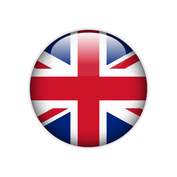 Flag of Great Britain on a button. Vector