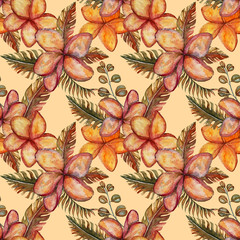 Cute colorful floral beautiful watercolor tropical seamless pattern with hibiscus flowers