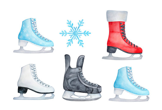 Colorful ice skating shoes. Red, blue, white and black colors; girl and boy variations. Hand painted watercolour drawing, cutout clip art elements for winter party invitations, scrapbooking, prints.