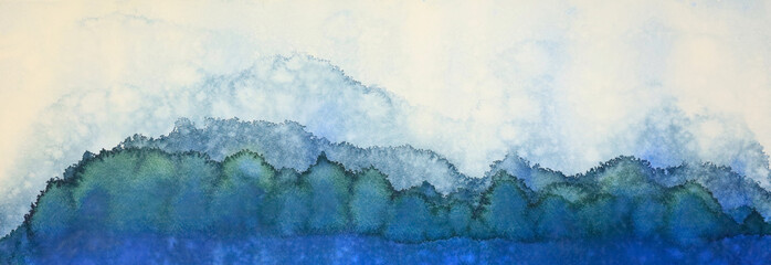 An original abstract watercolor painting  by me of the sky, tree, snow and lake in a horizontal presentation.