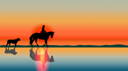 Romantic horse background - sunset silhouettes on the beach