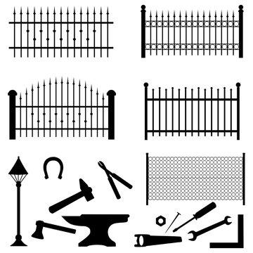 Schmiedezaun Silhouette Set Werkzeug isoliert schwarz