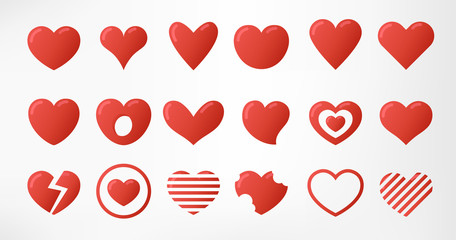 Hearts set isolated on white background. Simple modern design. Icons, signs or logos. Red color. Objects to the Valentine's Day. Flat style vector illustration.