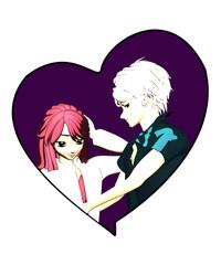 Manga Liebespaar in zärtlicher Umarmung. Illustration