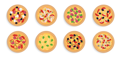 Set of pizza isolated on white background. Different types. Fast food. Colorful mock up. Simple realistic design. Flat style vector illustration.