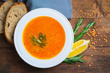 Lentil Soup on Wooden Background, Vegetable Soup