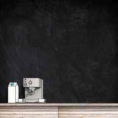 3d illustration rendering of blank wooden blackboard and sketch drawing of coffee machine with milk