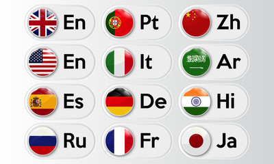 Set of language buttons with national flags. Vector illustration.