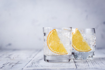 Glasses of gin and tonic