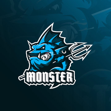monster fish mascot logo design vector with modern illustration concept style for badge, emblem and tshirt printing. angry fish illustration with a spear in hand.