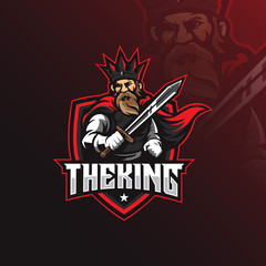 king mascot logo design vector with modern illustration concept style for badge, emblem and tshirt printing. king illustration with carrying a sword.