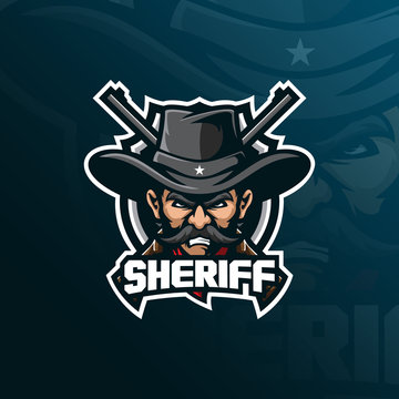 sheriff mascot logo design vector with modern illustration concept style for badge, emblem and tshirt printing. sheriff illustration with a guns.