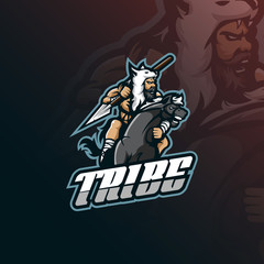 tribe mascot logo design vector with modern illustration concept style for badge, emblem and tshirt printing. tribe illustration with a horse and spear.
