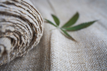Fabric made from hemp .  cannabis product