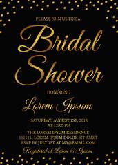 Bridal shower invitation card. Gold confetti bachelorette party ideas. Golden glittering polka dots bridal party invite. Wedding stationery. Vector illustration.