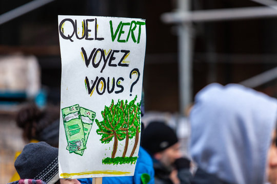 Activists marching for the environment. French sign seen in an ecological protest saying what green do you see ?