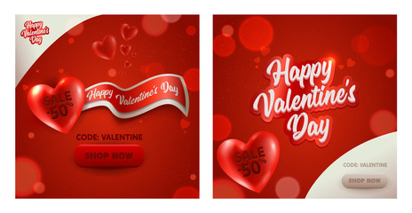 Romantic Valentine Day Discount Banner Set. Sale Promotion Poster Red White Heart Ad Element Design. Romantic Holiday Promo Deal Square Card Template Collection 3d Vector Illustration