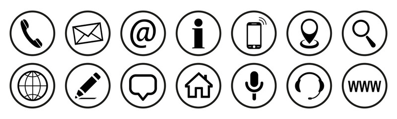 Set contact icons button - stock vector