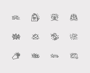 Affection icons set. Love location and affection icons with rainbow, photo camera, hand. Set of together for web app logo UI design.