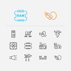 Hardware icons set. Bullhorn and hardware icons with projector, data filter and usb plug. Set of broadcasting for web app logo UI design.
