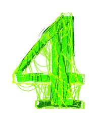Green distressed font.Vector grunge number.