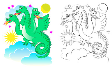 Fantasy illustration of cute dragon. Colorful and black and white page for coloring book. Printable worksheet for children and adults. Vector cartoon image.