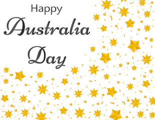 Happy Australia day, Gold stars australia and confetti. Festive vector illustration on white background. greeting card or banner ad