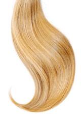 Blond hair, isolated on white background. Long and disheveled ponytail