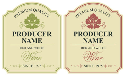 set of two vector wine labels with vine leaves