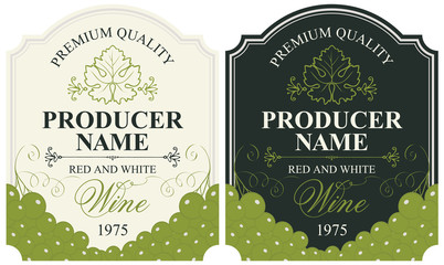 set of wine labels with bunches of grapes