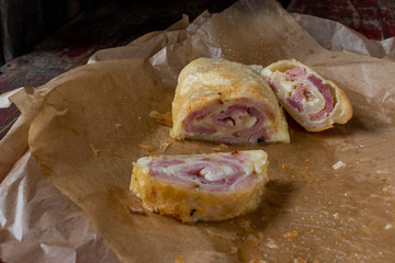 Ham and cheese spiral slices