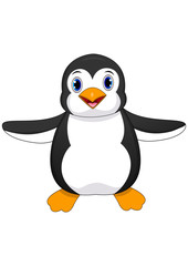 Illustration of cute baby penguin cartoon waving isolated on white background