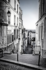 Narrow street in Montmartre, Paris, France