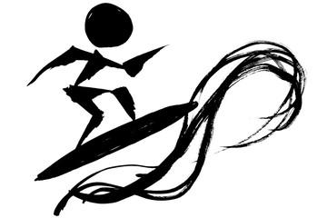 筆絵 サーフィンのシルエット