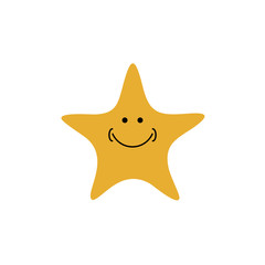 Smile star icon logo - vector illustration