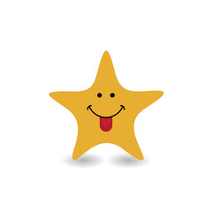 Funny smile star icon logo - vector illustration