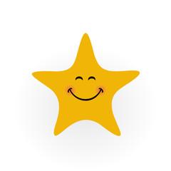 Smile star icon logo - vector illustration