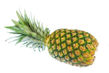 Wall Mural - top view of fresh pineapple isolated on white background