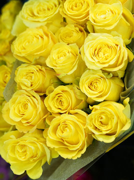 Fresh yellow roses bouquet flower background
