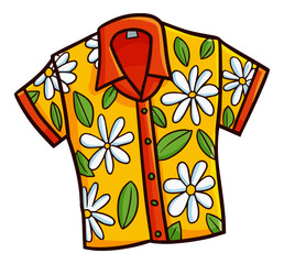 Funny and cute fresh yellow shirt for your beach vacation - vector