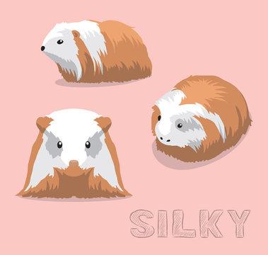 Guinea Pig Silky Cartoon Vector Illustration